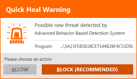 Fig 4. Quick Heal Advanced Behavior Detection System